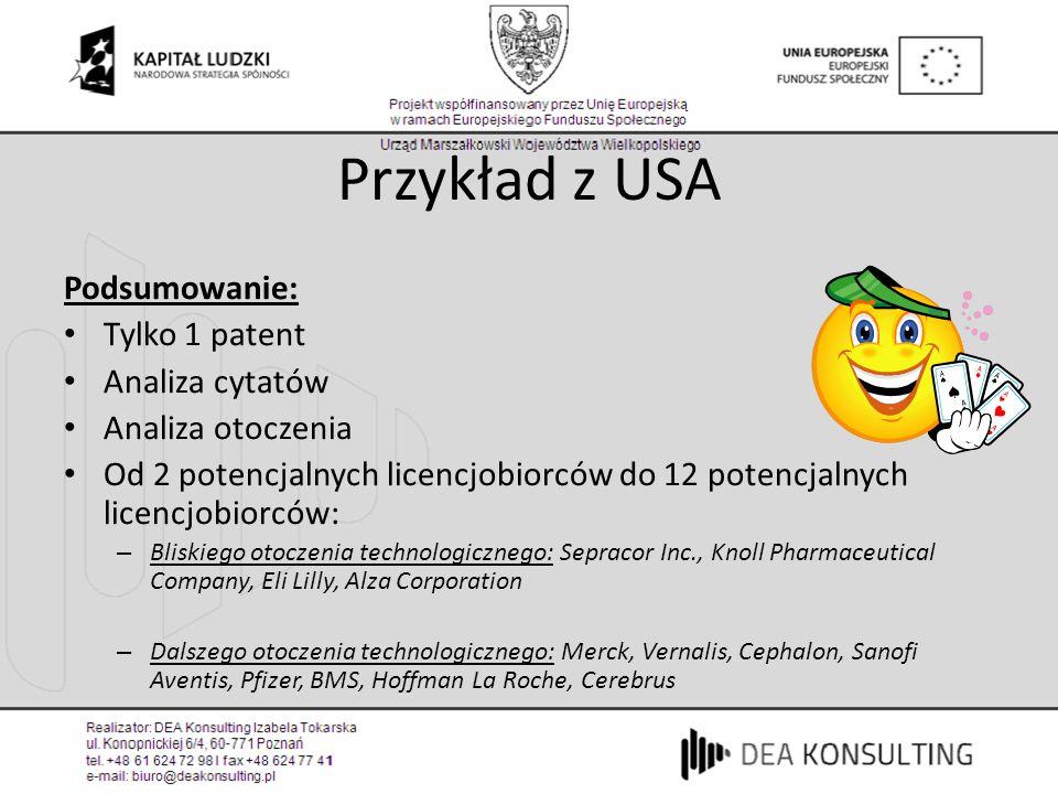 Przykład z USA Podsumowanie: Tylko 1 patent Analiza cytatów