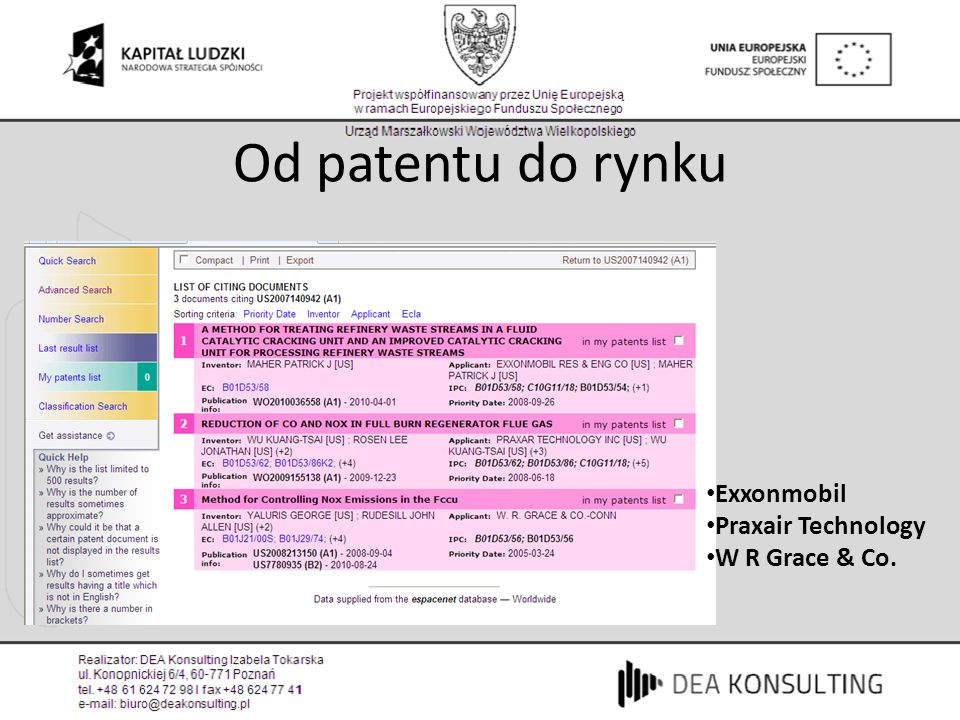 Od patentu do rynku Exxonmobil Praxair Technology W R Grace & Co.