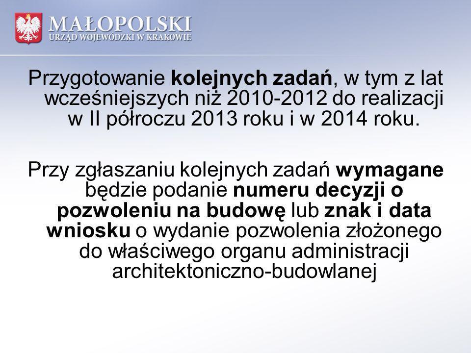 Przygotowanie kolejnych zadań, w tym z lat wcześniejszych niż 2010-2012 do realizacji w II półroczu 2013 roku i w 2014 roku.