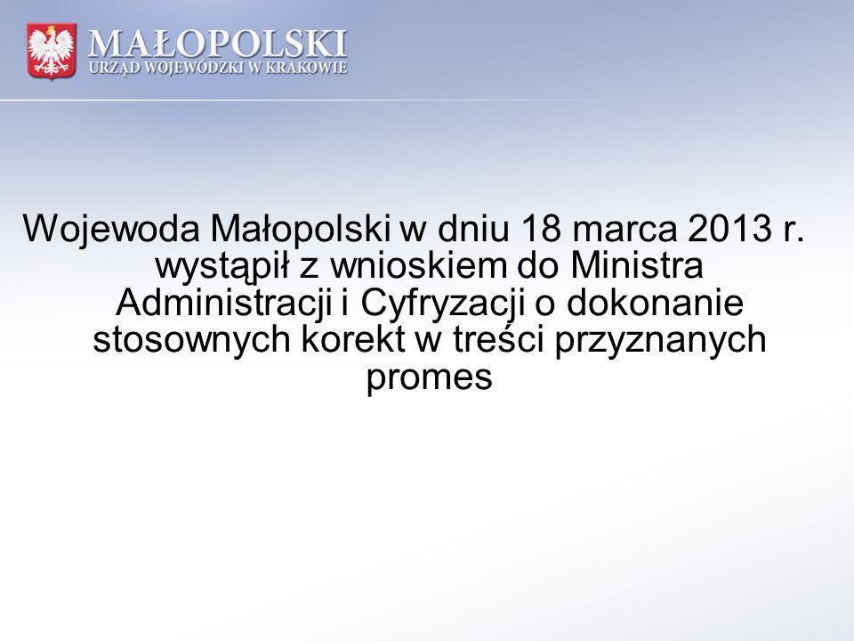 Wojewoda Małopolski w dniu 18 marca 2013 r