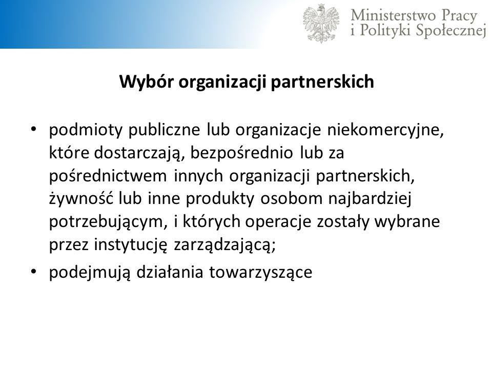 Wybór organizacji partnerskich