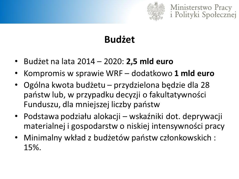 Budżet Budżet na lata 2014 – 2020: 2,5 mld euro