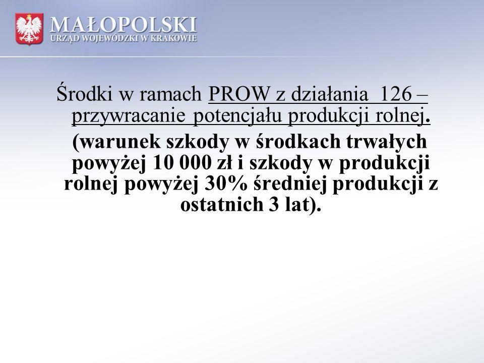 Środki w ramach PROW z działania 126 – przywracanie potencjału produkcji rolnej.