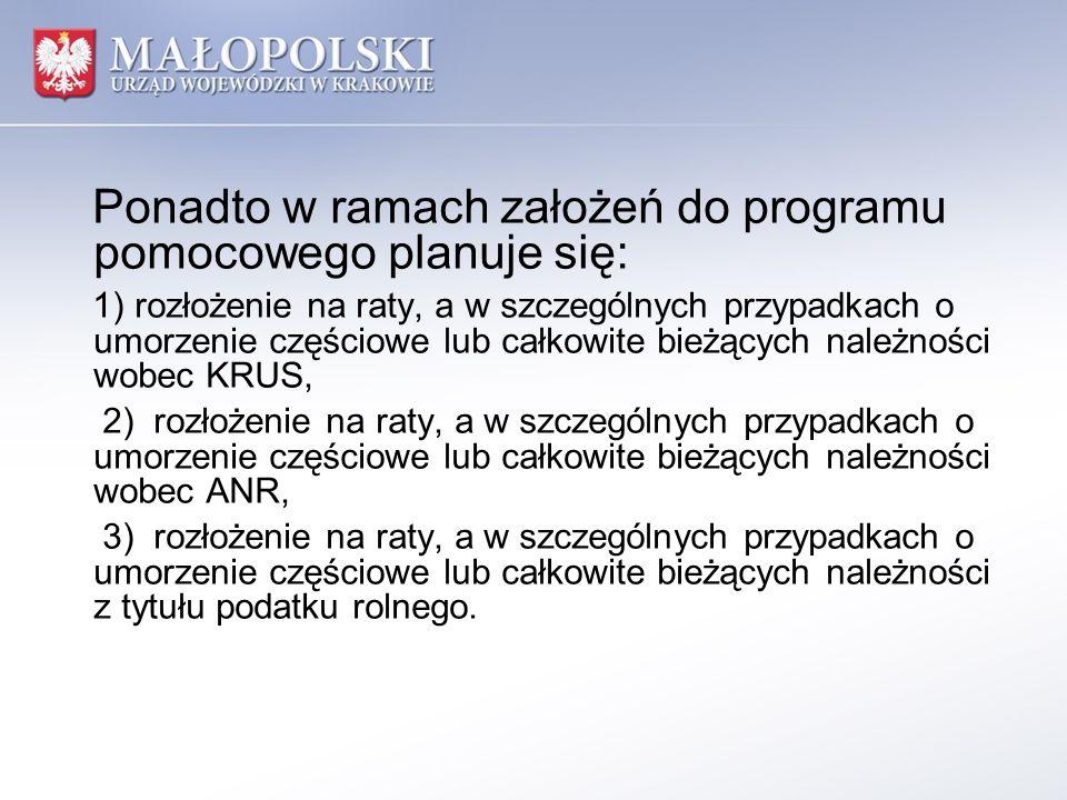 Ponadto w ramach założeń do programu pomocowego planuje się: