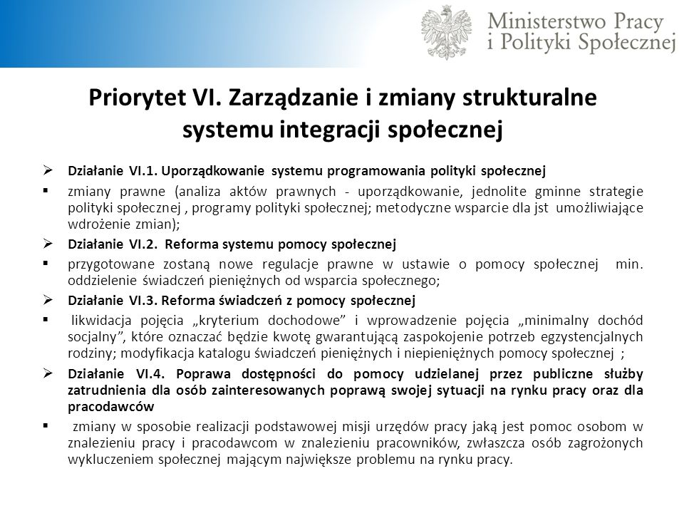 Priorytet VI. Zarządzanie i zmiany strukturalne systemu integracji społecznej