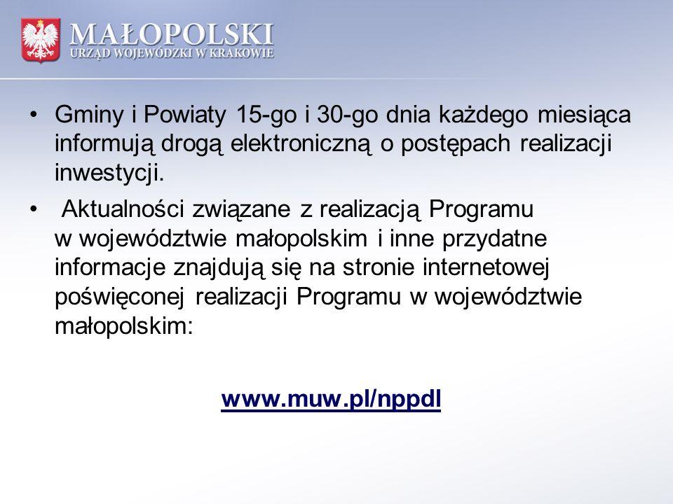 Gminy i Powiaty 15-go i 30-go dnia każdego miesiąca informują drogą elektroniczną o postępach realizacji inwestycji.