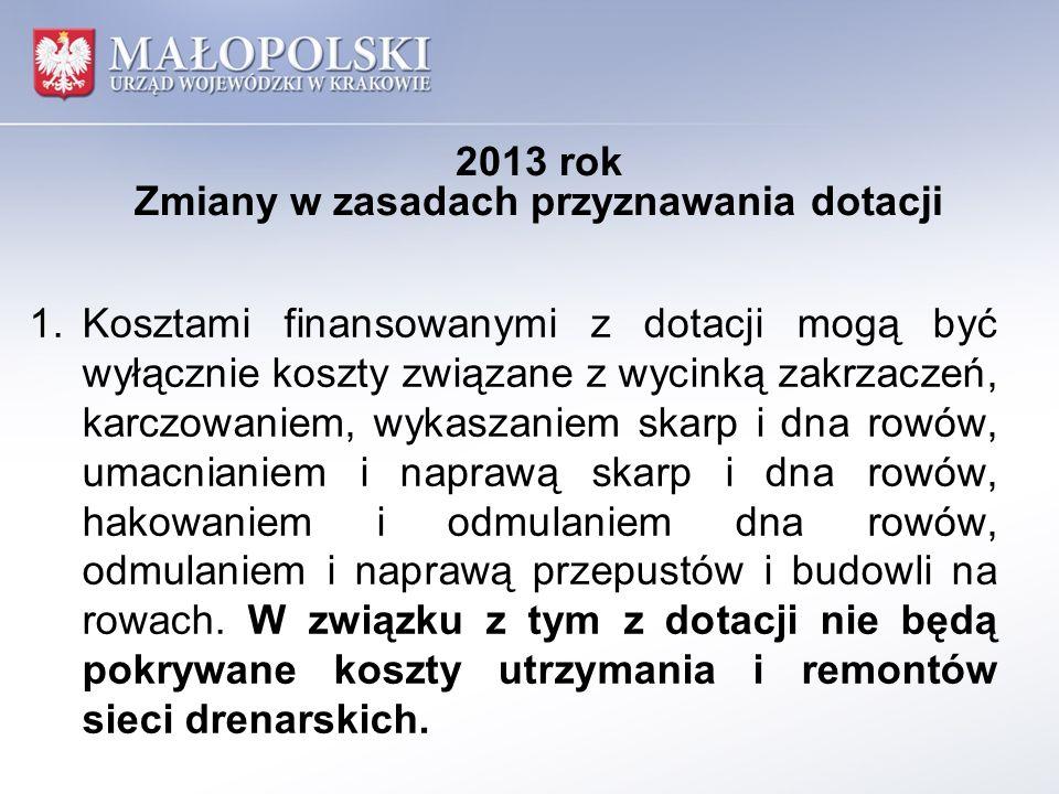 2013 rok Zmiany w zasadach przyznawania dotacji