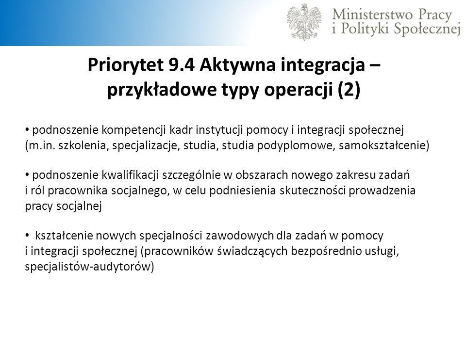 Priorytet 9.4 Aktywna integracja – przykładowe typy operacji (2)