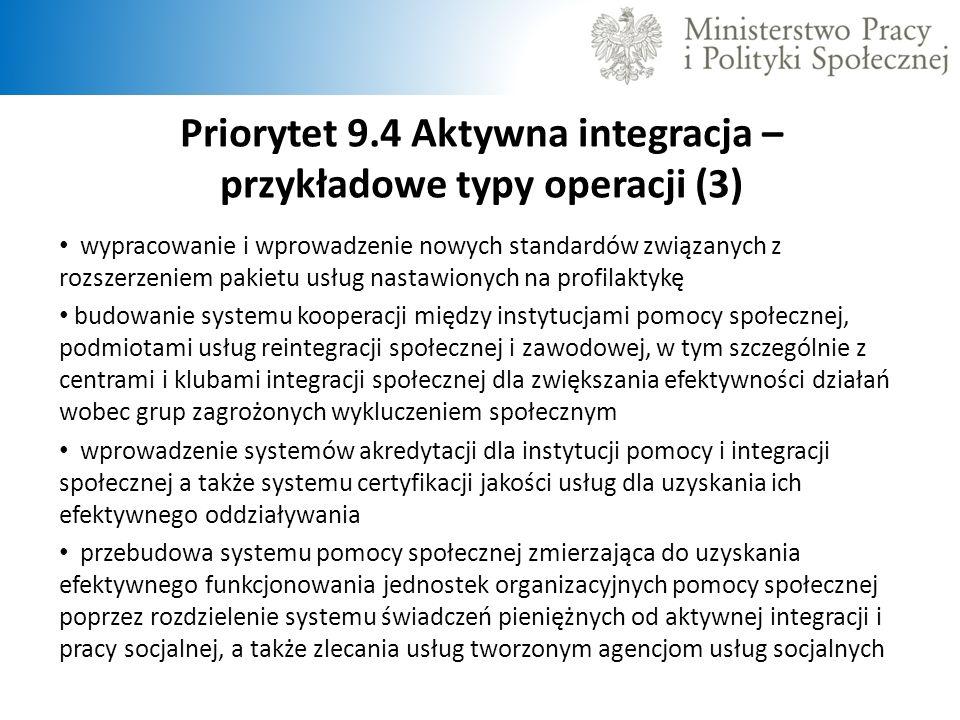 Priorytet 9.4 Aktywna integracja – przykładowe typy operacji (3)