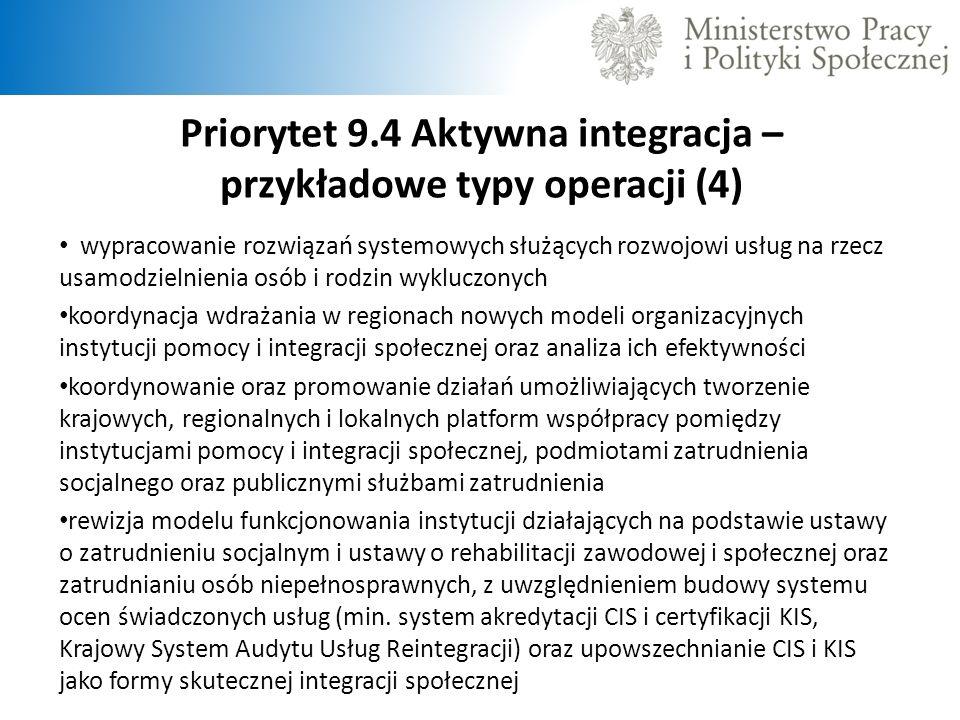 Priorytet 9.4 Aktywna integracja – przykładowe typy operacji (4)