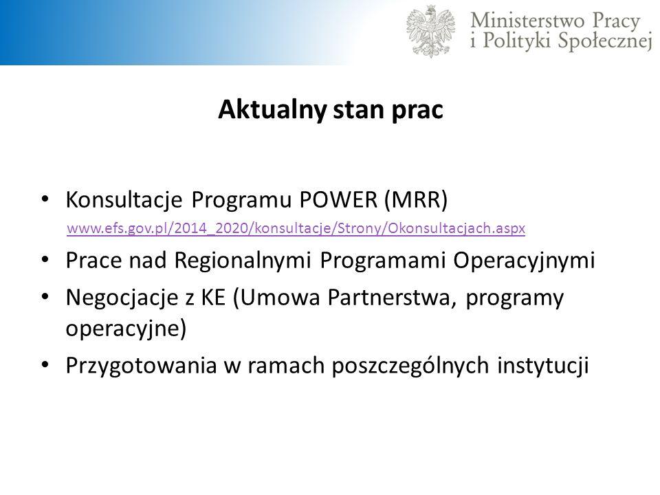 Aktualny stan prac Konsultacje Programu POWER (MRR)