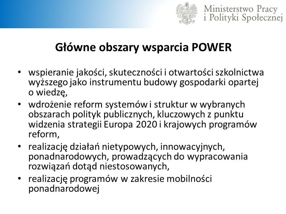 Główne obszary wsparcia POWER