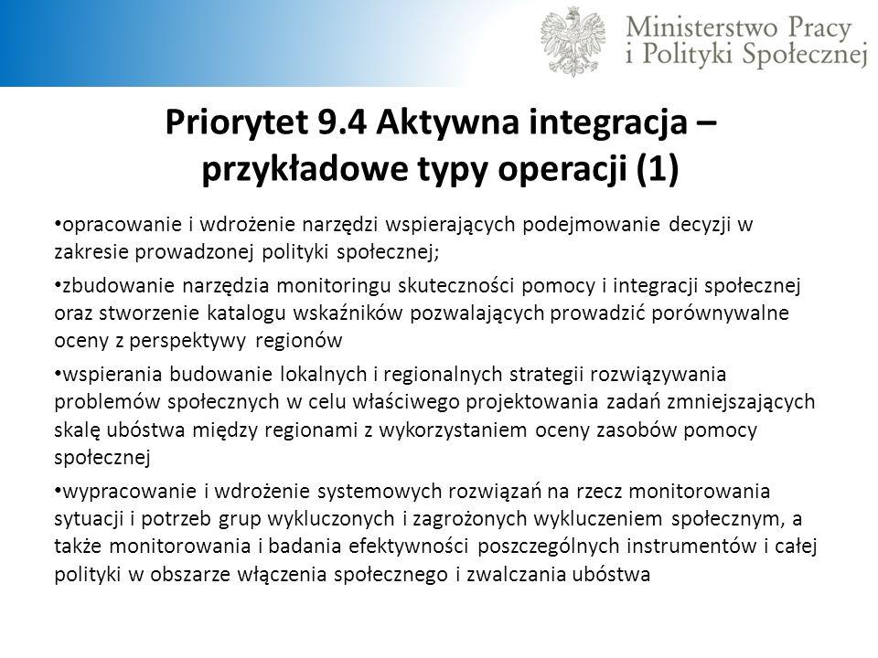 Priorytet 9.4 Aktywna integracja – przykładowe typy operacji (1)