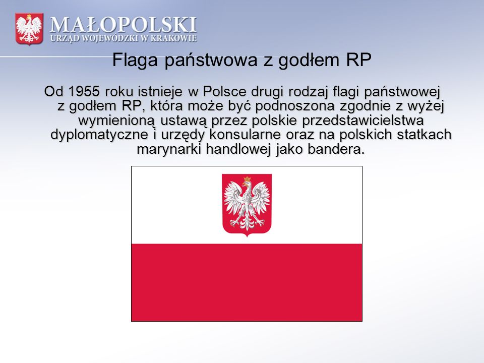 Flaga państwowa z godłem RP