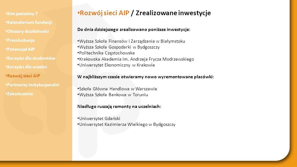 Rozwój sieci AIP / Zrealizowane inwestycje
