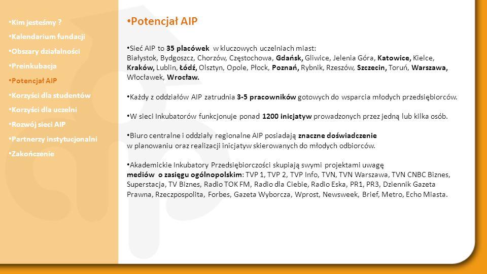 Potencjał AIP Kim jesteśmy Kalendarium fundacji Obszary działalności