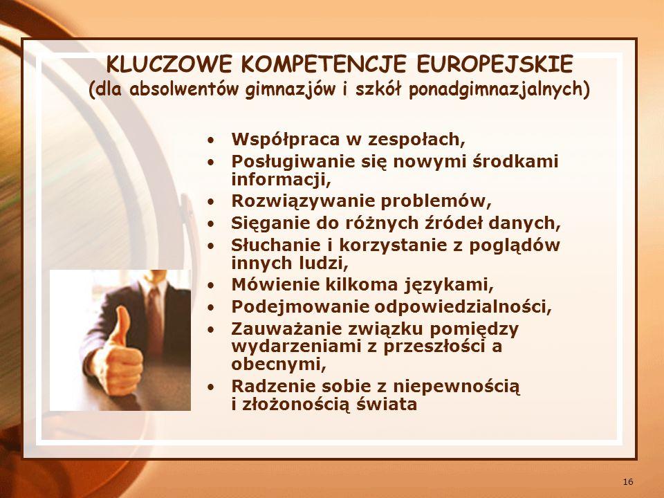 KLUCZOWE KOMPETENCJE EUROPEJSKIE (dla absolwentów gimnazjów i szkół ponadgimnazjalnych)