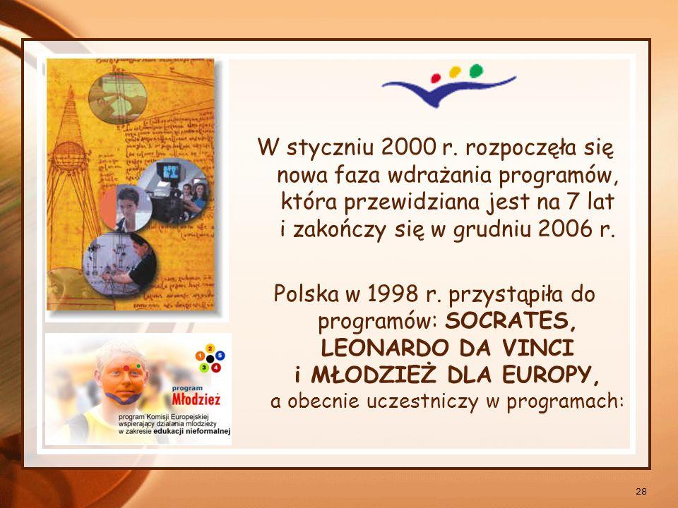 W styczniu 2000 r. rozpoczęła się nowa faza wdrażania programów, która przewidziana jest na 7 lat i zakończy się w grudniu 2006 r.