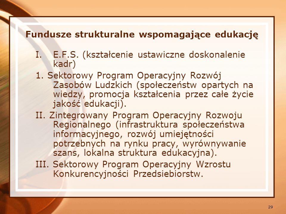 Fundusze strukturalne wspomagające edukację