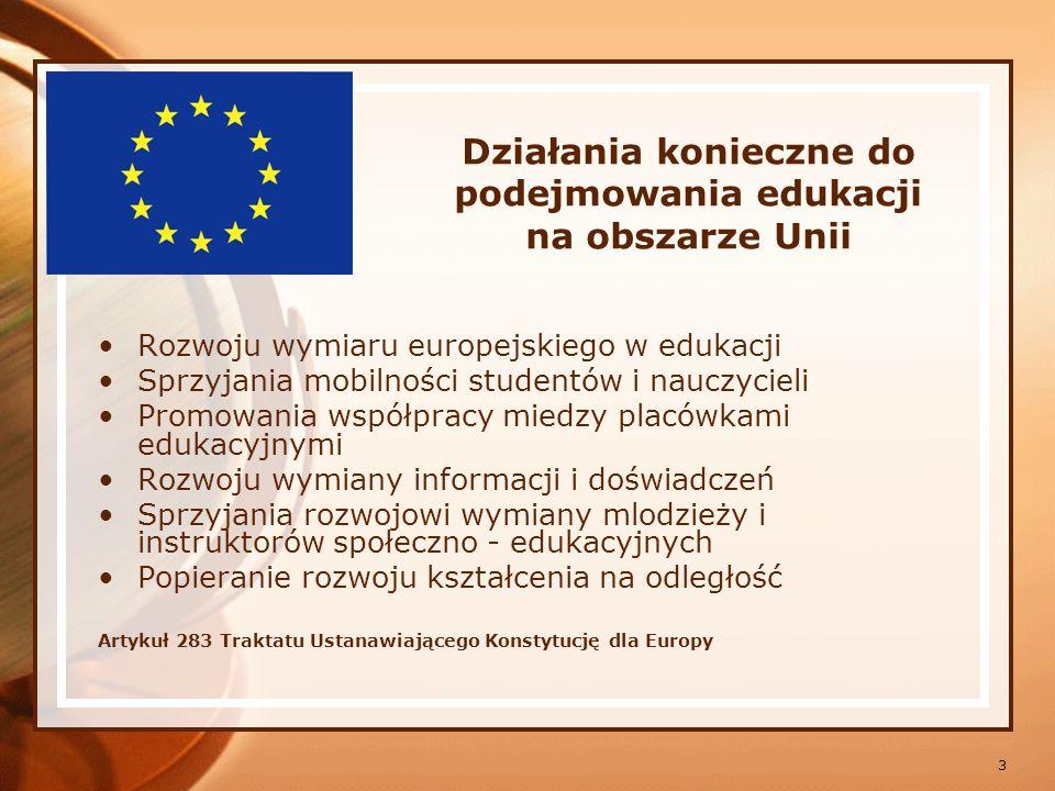 Działania konieczne do podejmowania edukacji na obszarze Unii