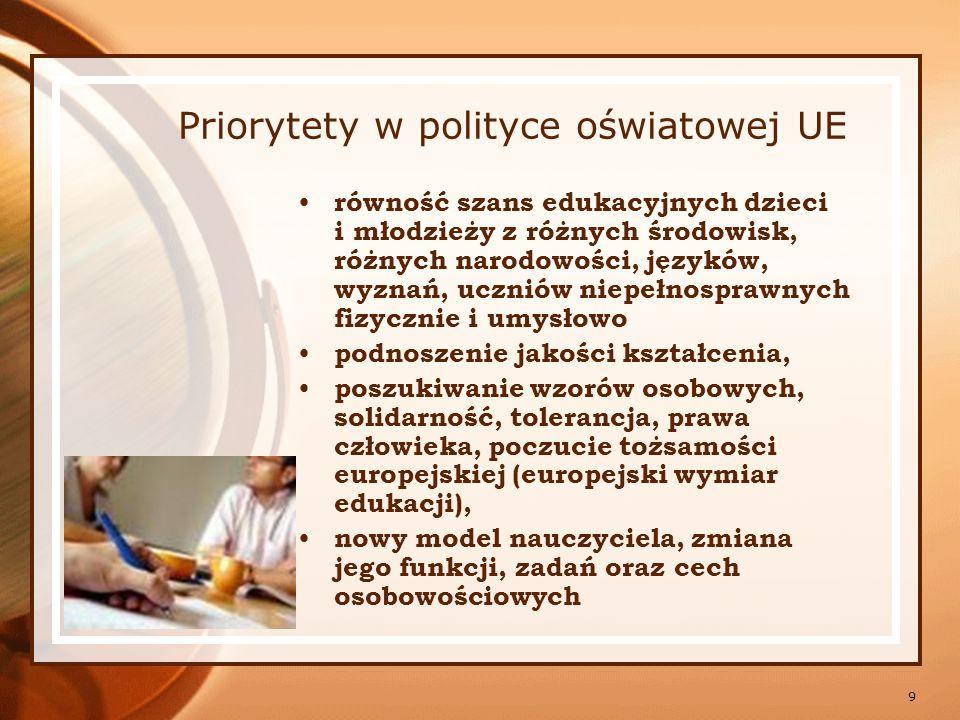 Priorytety w polityce oświatowej UE