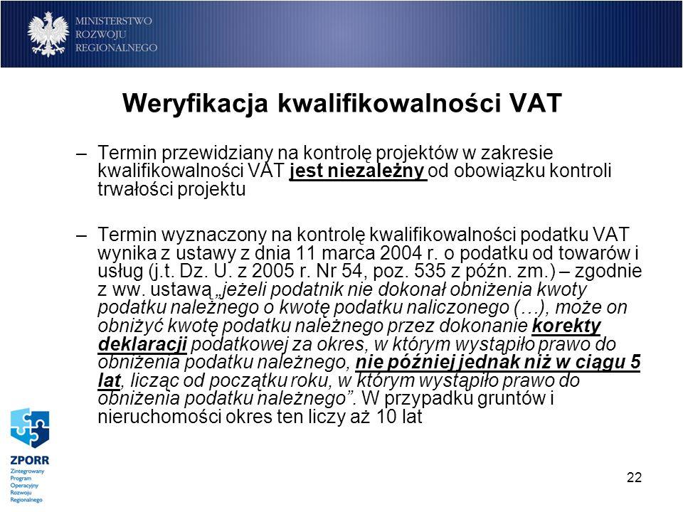 Weryfikacja kwalifikowalności VAT