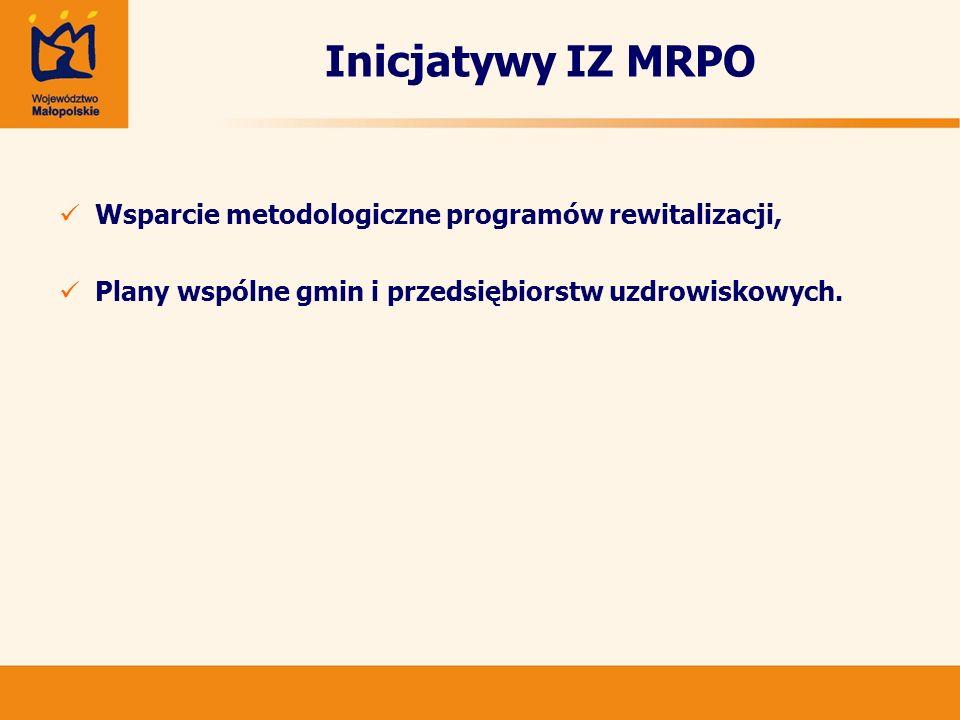 Inicjatywy IZ MRPO Wsparcie metodologiczne programów rewitalizacji,