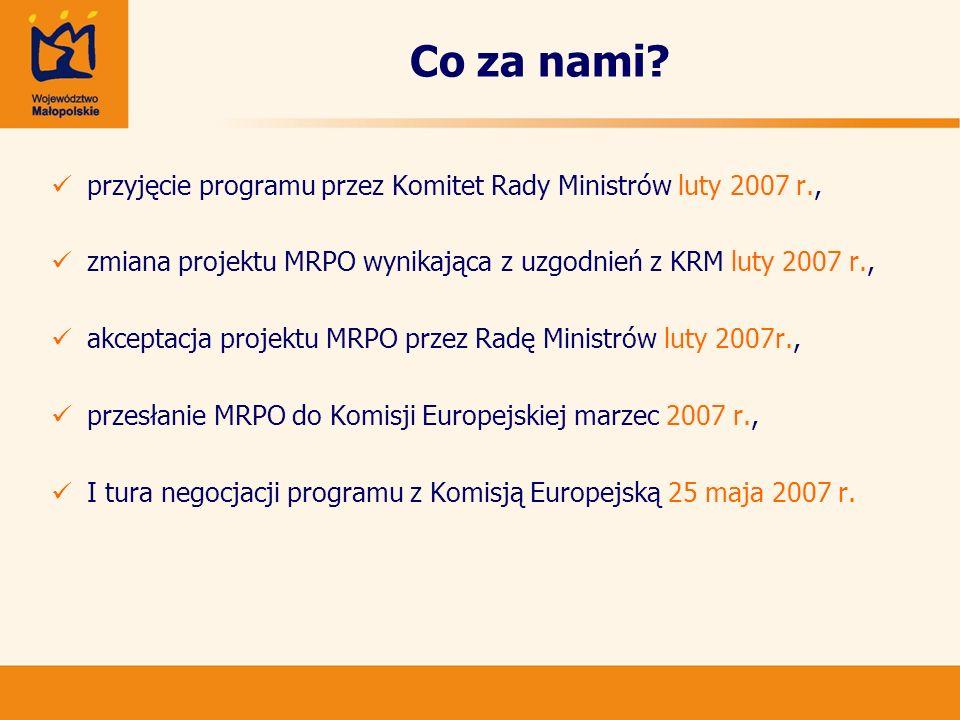 Co za nami przyjęcie programu przez Komitet Rady Ministrów luty 2007 r., zmiana projektu MRPO wynikająca z uzgodnień z KRM luty 2007 r.,