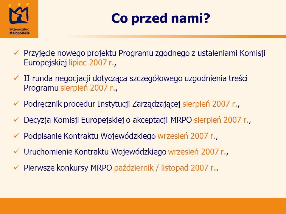 Co przed nami Przyjęcie nowego projektu Programu zgodnego z ustaleniami Komisji Europejskiej lipiec 2007 r.,