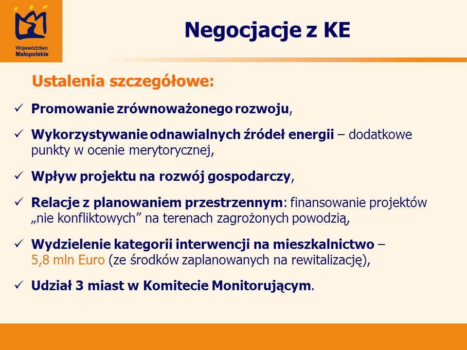 Negocjacje z KE Ustalenia szczegółowe: