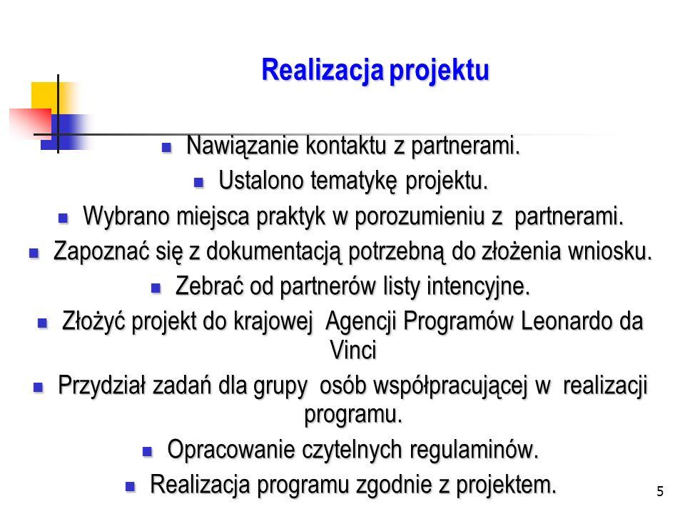 Realizacja projektu Nawiązanie kontaktu z partnerami.
