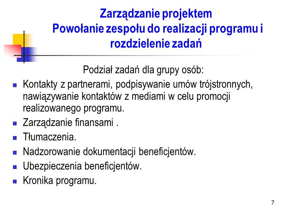 Podział zadań dla grupy osób: