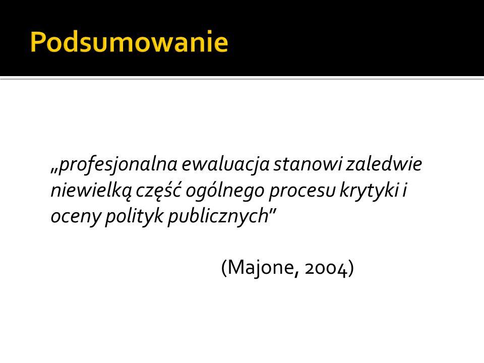 """Podsumowanie """"profesjonalna ewaluacja stanowi zaledwie niewielką część ogólnego procesu krytyki i oceny polityk publicznych (Majone, 2004)"""