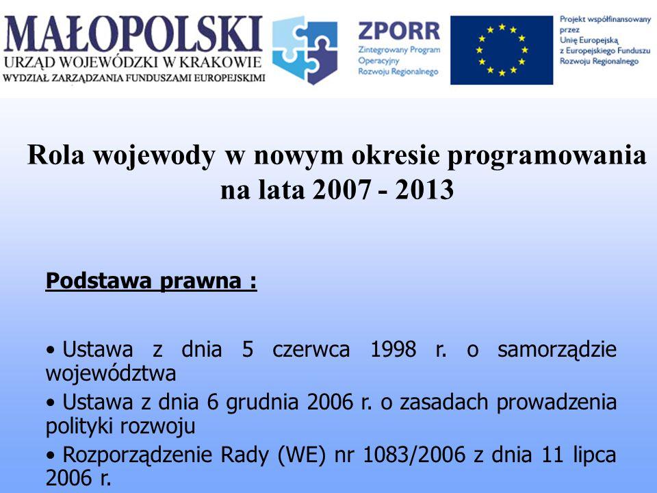 Rola wojewody w nowym okresie programowania na lata 2007 - 2013