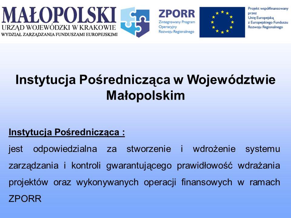 Instytucja Pośrednicząca w Województwie Małopolskim