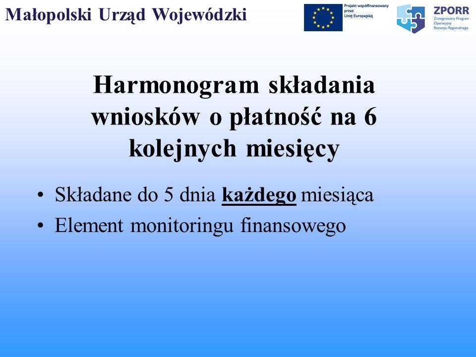 Harmonogram składania wniosków o płatność na 6 kolejnych miesięcy