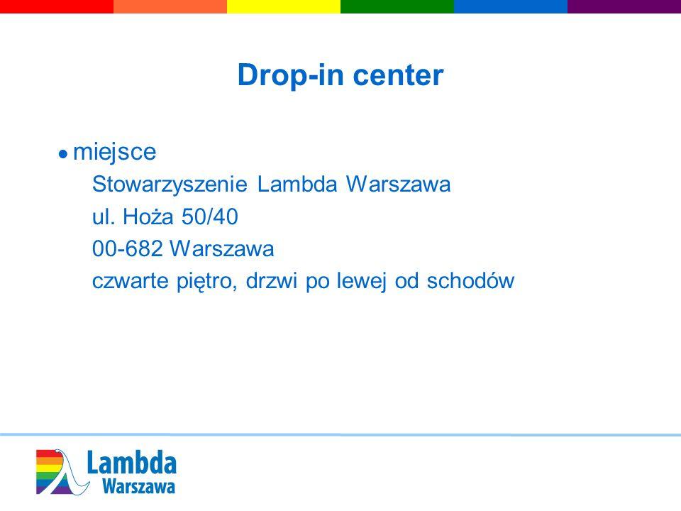Drop-in center miejsce Stowarzyszenie Lambda Warszawa ul. Hoża 50/40