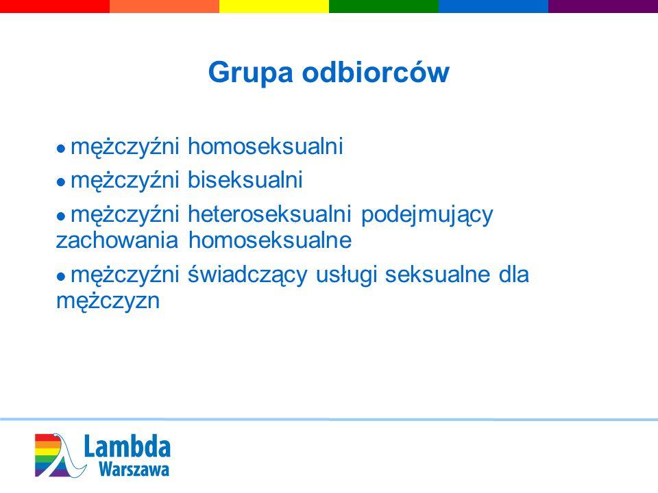 Grupa odbiorców mężczyźni homoseksualni mężczyźni biseksualni