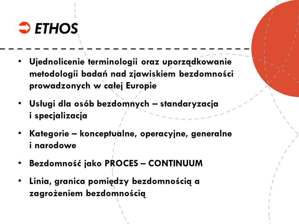 ETHOSUjednolicenie terminologii oraz uporządkowanie metodologii badań nad zjawiskiem bezdomności prowadzonych w całej Europie.