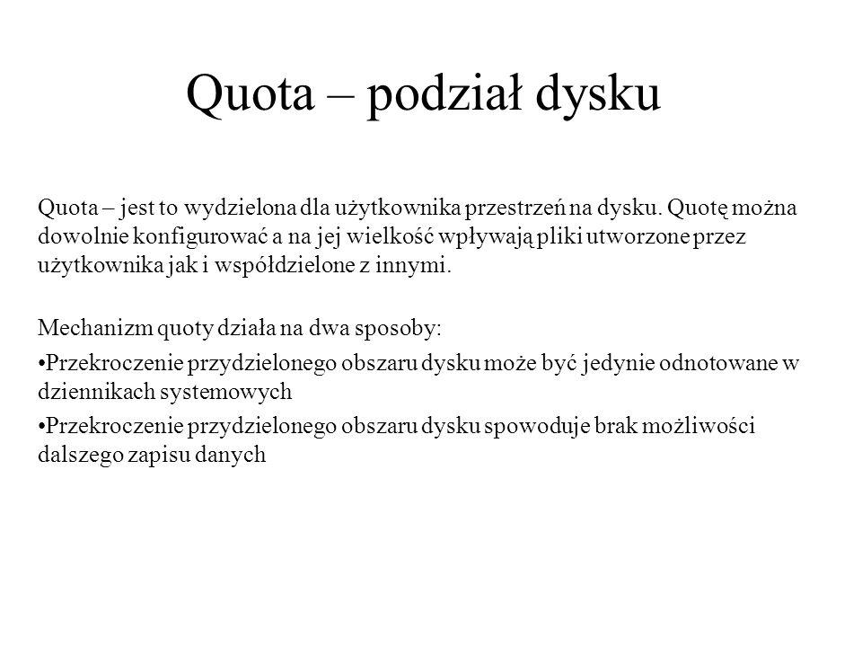 Quota – podział dysku
