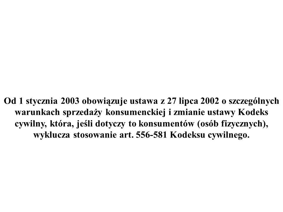 Od 1 stycznia 2003 obowiązuje ustawa z 27 lipca 2002 o szczególnych warunkach sprzedaży konsumenckiej i zmianie ustawy Kodeks cywilny, która, jeśli dotyczy to konsumentów (osób fizycznych), wyklucza stosowanie art.