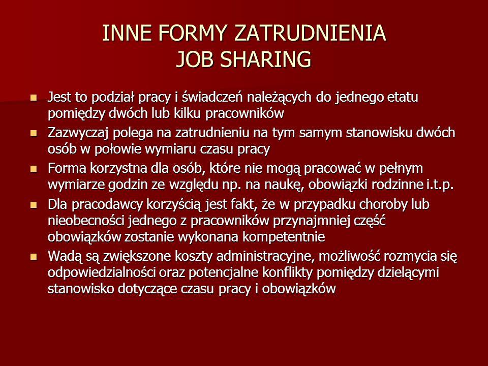 INNE FORMY ZATRUDNIENIA JOB SHARING