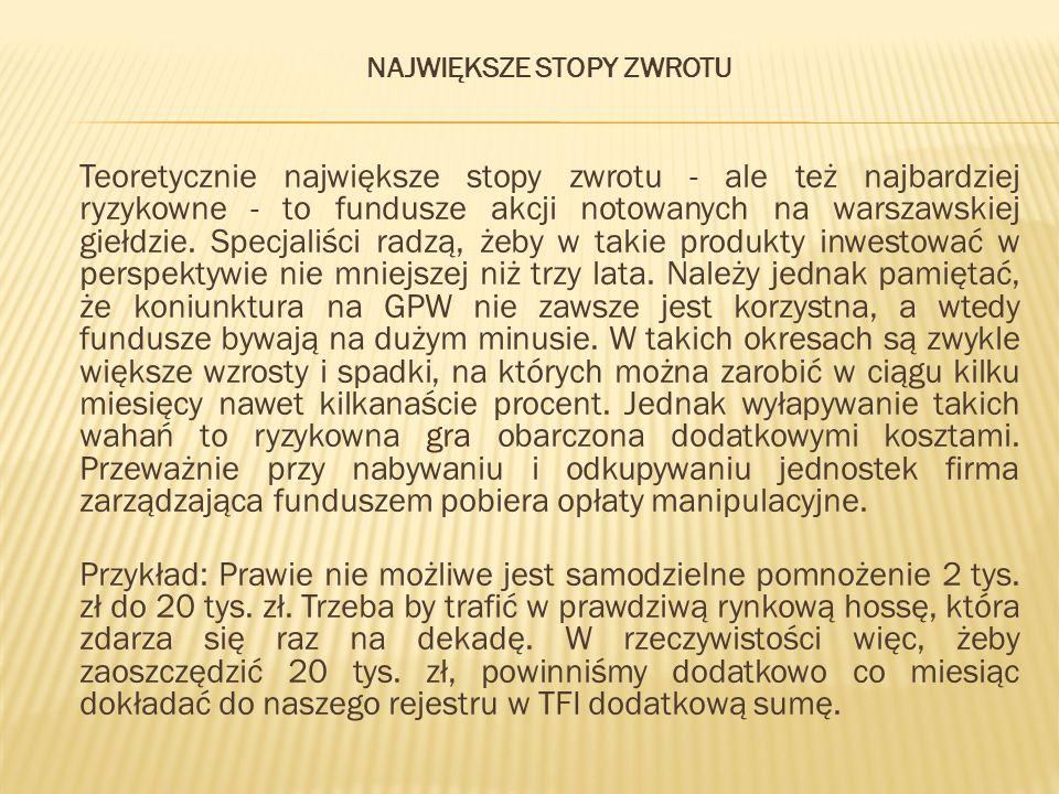 NAJWIĘKSZE STOPY ZWROTU