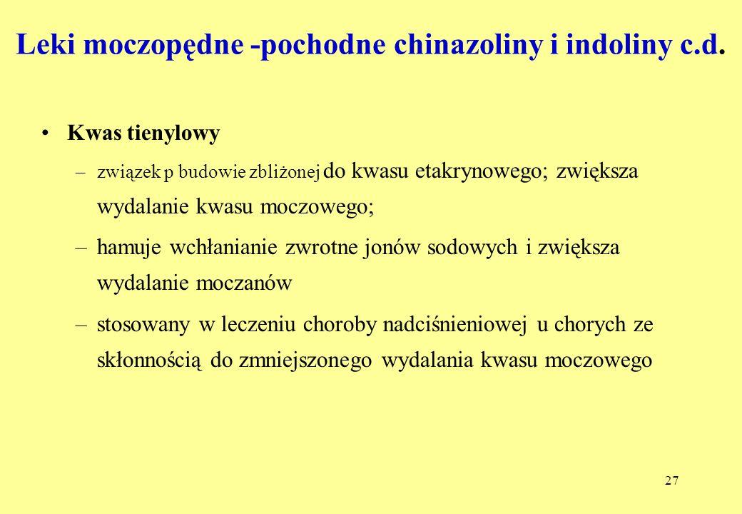 Leki moczopędne -pochodne chinazoliny i indoliny c.d.