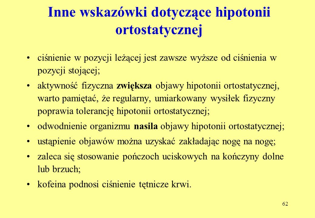 Inne wskazówki dotyczące hipotonii ortostatycznej