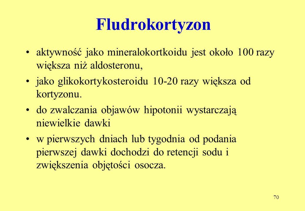 Fludrokortyzon aktywność jako mineralokortkoidu jest około 100 razy większa niż aldosteronu,