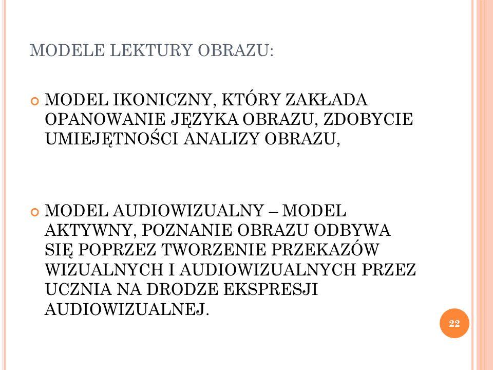 MODELE LEKTURY OBRAZU: