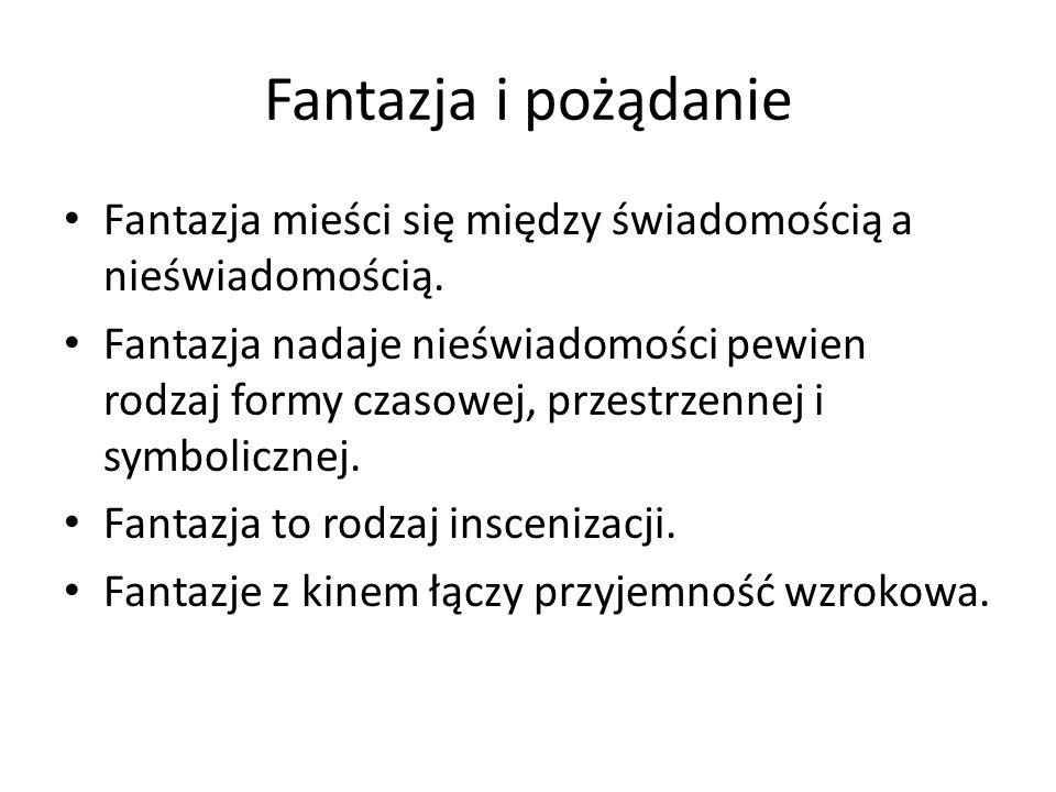 Fantazja i pożądanie Fantazja mieści się między świadomością a nieświadomością.