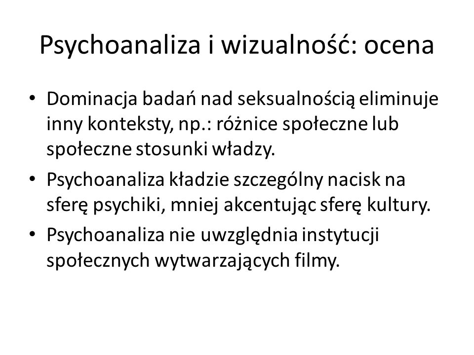 Psychoanaliza i wizualność: ocena