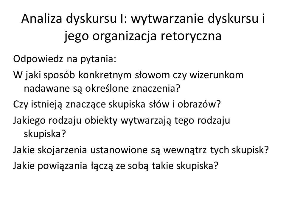 Analiza dyskursu I: wytwarzanie dyskursu i jego organizacja retoryczna